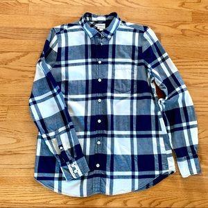 J. Crew Boy Fit Flannel Shirt - Blue & Cream Check